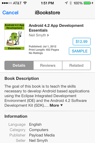 An iBookStore item in the SKStoreProductViewController