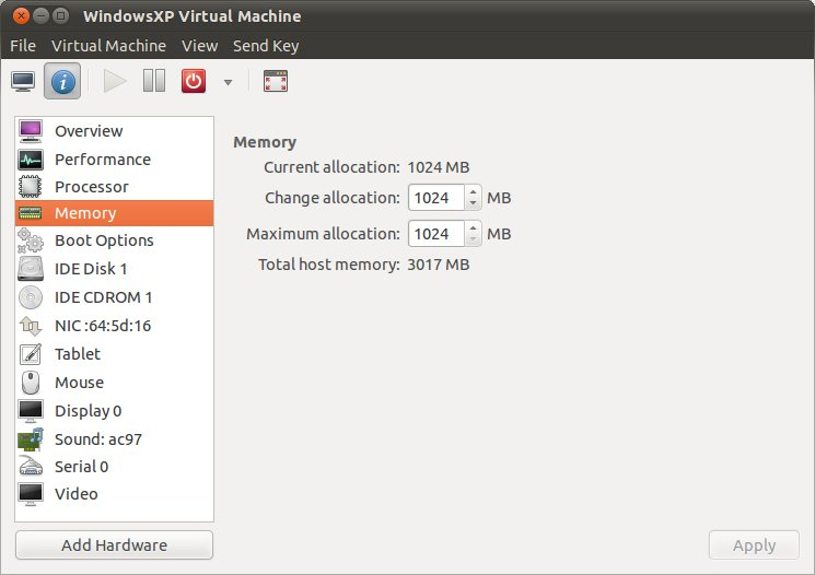 KVM virtual machine memory and CPU settings