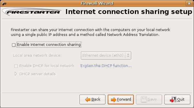 Ubuntu Linux Firestarter Internet Connection Sharing