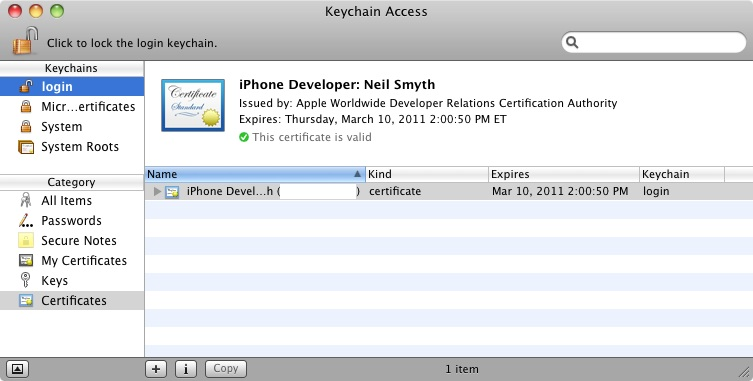 Keychain Access Tool certificate installed