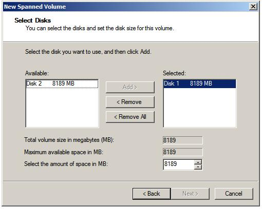 Selecting the disks for a Windows Server 2008 Spanned Volume