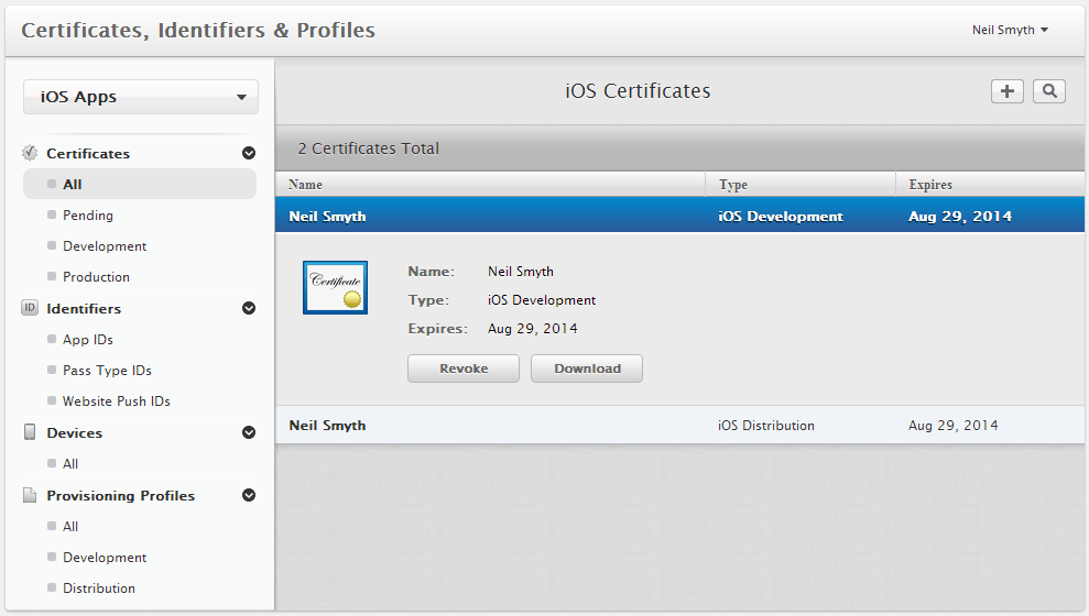 Viewing iOS Developer and Distribution Certificates in the Developer Member Center