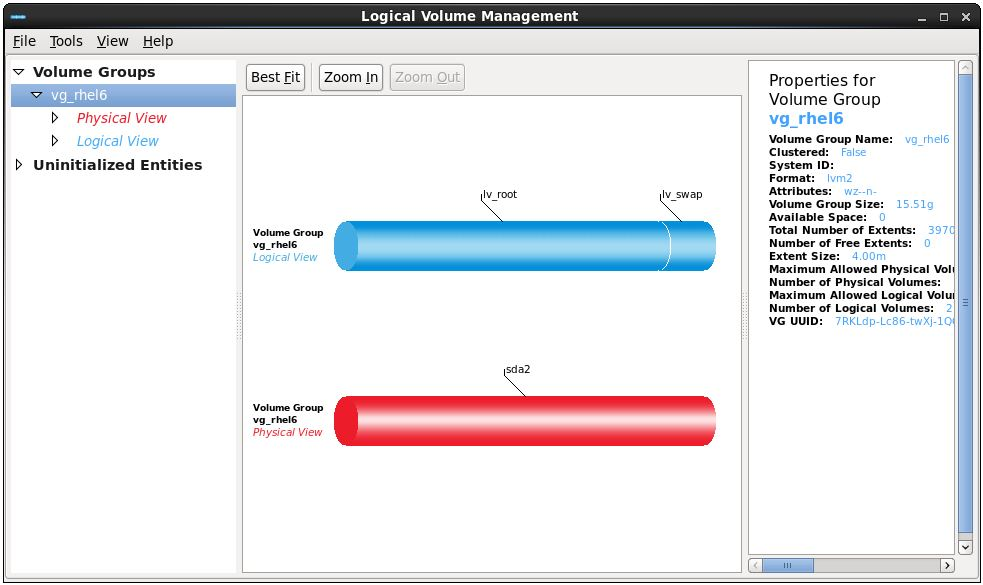 RHEL 6 system-config-lvm Logical Volume Management tool running