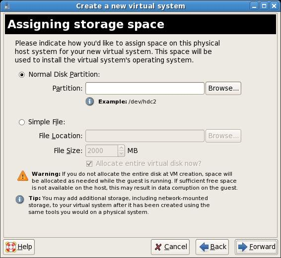 Assigning Storage Space for a Xen Guest System