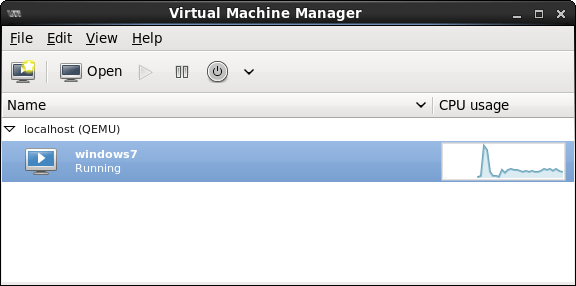 A virtual machine listed as running in the virt-manager console