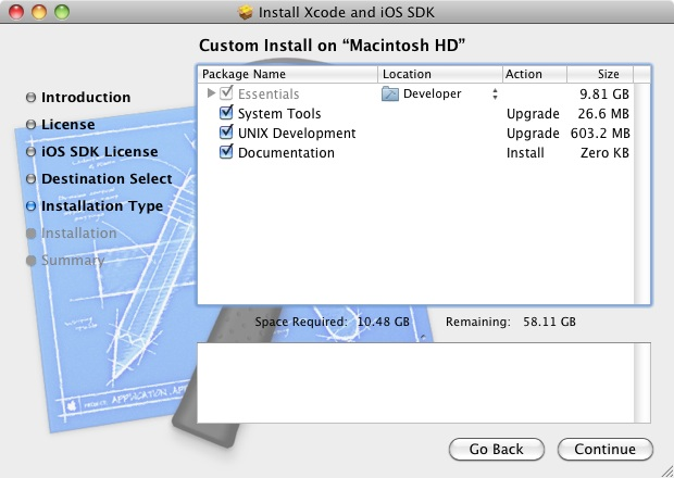 Installing iOS 4 SDK and Xcode 4