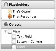 The Xcode 4.3 placeholders panel