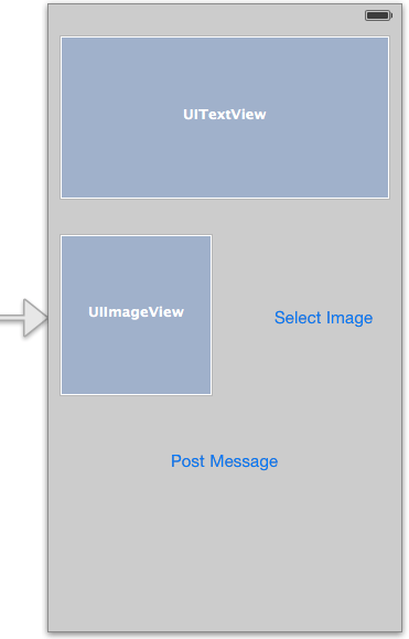 The user interface layout for an iOS 7 Facebook integration application