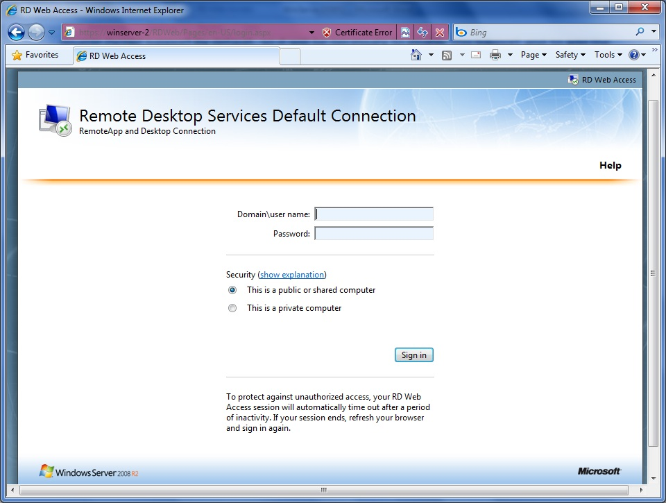 Configuring Windows Server 2008 RD Web Access - Techotopia