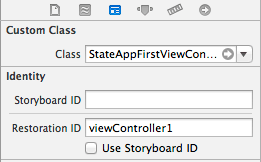 Configuring a restoration ID in Xcode 5 for an iOS 7 app