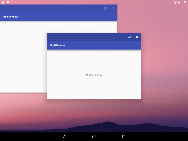 Android 7 freeform window in center
