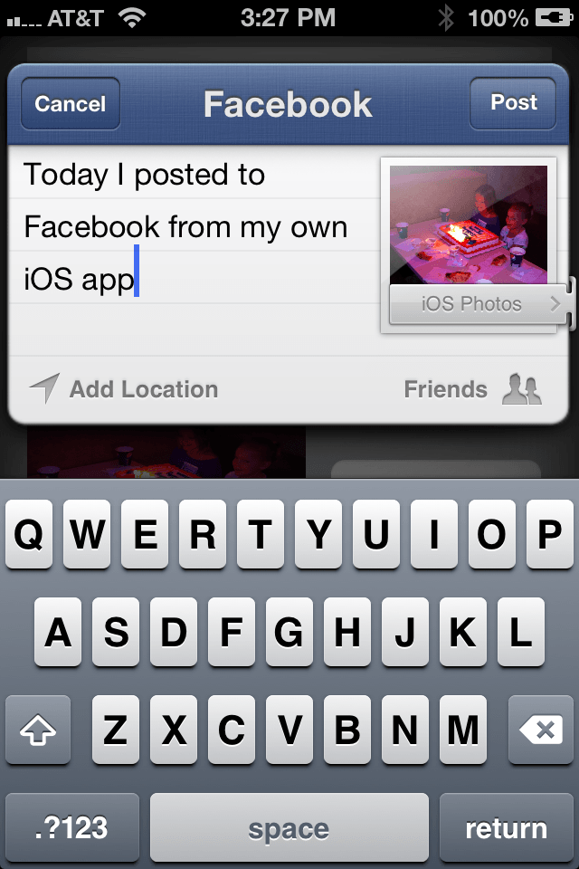 Previewing an iPhone iOS 6 Facebook posting