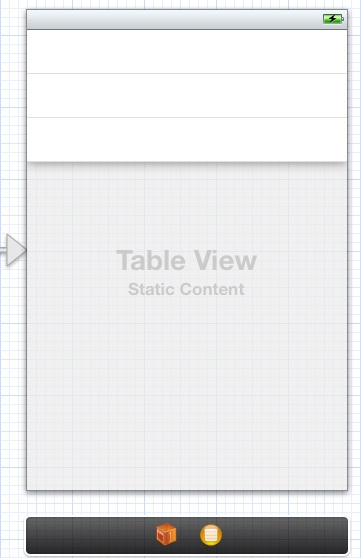 A new static table view in an Xcode storyboard