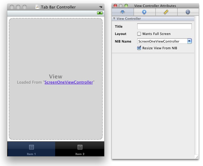 The Tab Bar View Controller Attributes window