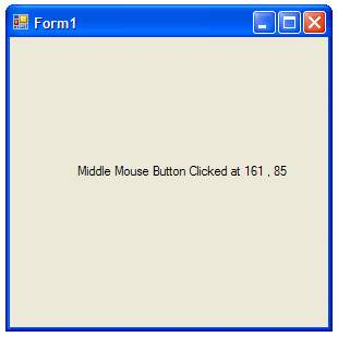 The C# MouseClick event example running