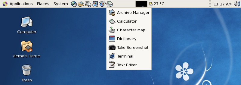 The CentOS GNOME Accessories menu added as a menu to the top panel