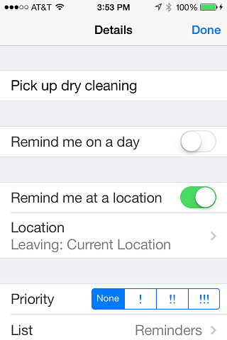 The iOS 7 Reminders App