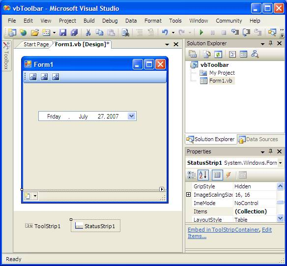 A Visual Basic Status Bar