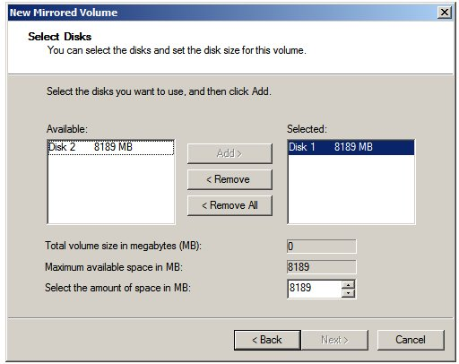 Selecting disks for a Windows Server 2008 Mirrored (RAID 1) volume