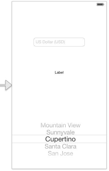 The user interface layout for an iOS 7 UIPickerView example app