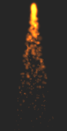 A rocket flame effect using the Xcode 5 particle emitter