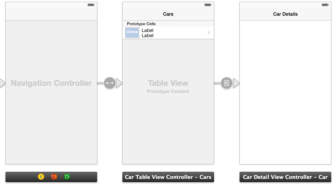 A segue added to the iOS 7 TableView navigation example