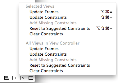 The Xcode Resolve Auto Layout Issues menu