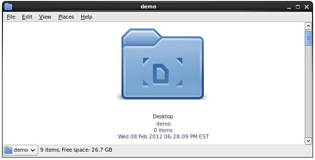 Zoomed CentOS 6 File Manager icons with captions enabled