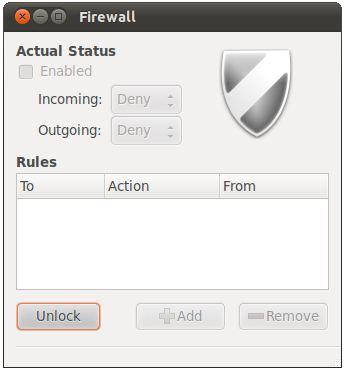 gufw on Ubuntu 11.04 disabled and locked