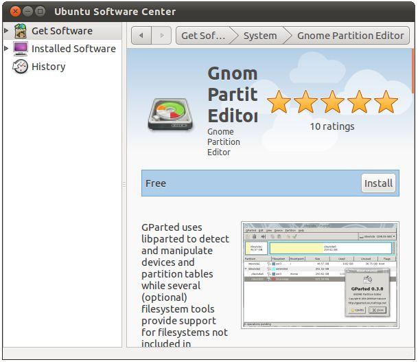 Installing GParted on Ubuntu 11.04 using the software center tool