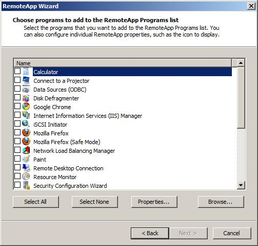 Adding RemoteApps to Windows Server 2008 R2 Remote Desktop Services