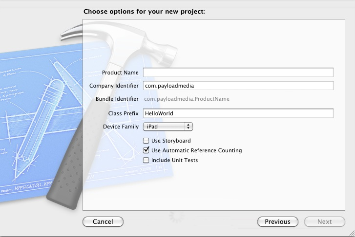Creating a new iPad iOS 5 Project