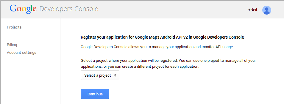 Registering an App to use the Google Maps Android API