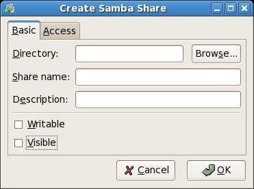 Add a new Samba Shared Folder