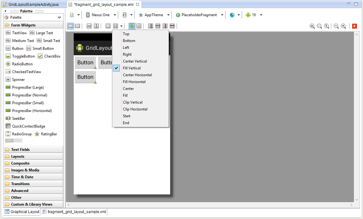 The Eclipse Android layout editor Gravity menu