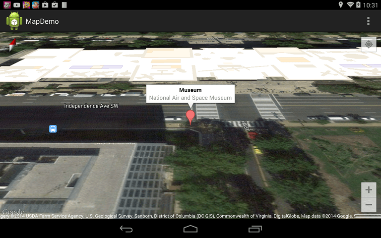 An Android Google Map API demo running with a map marker