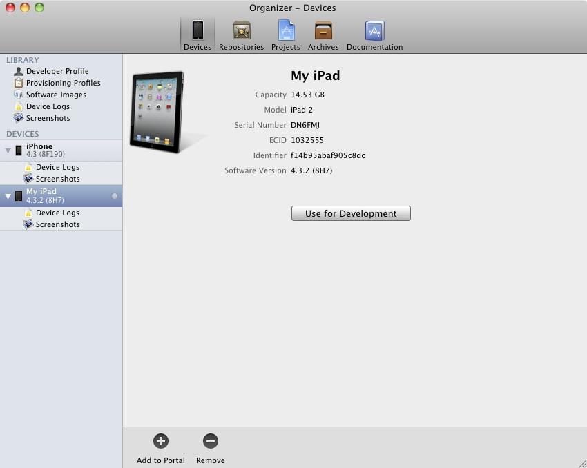 Xcode Organizer Window showing iOS 6 iPad device