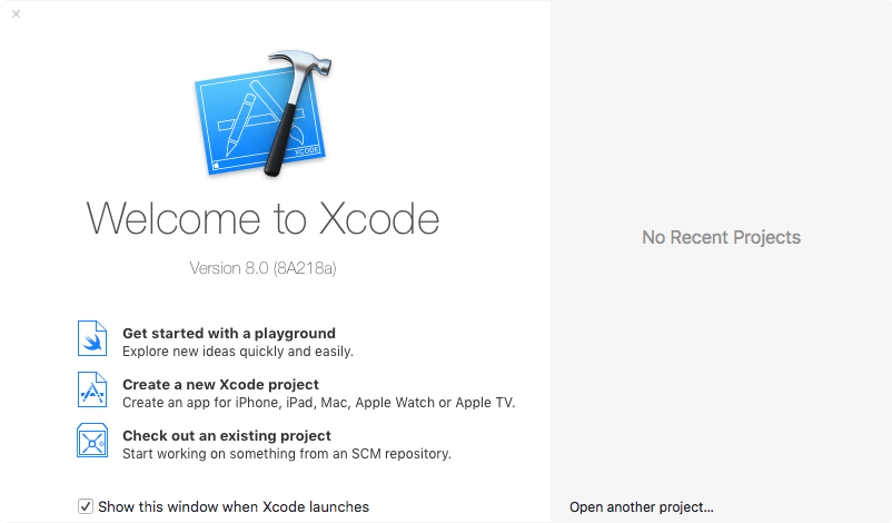 The Xcode 8 Weclome Screen