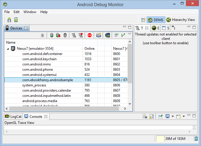 The Android Studio Debug Monitor window
