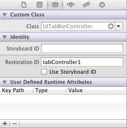 Setting an iOS 6 Restoration ID in Interface Builder