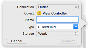 Establishing an outlet connection in Xcode 8