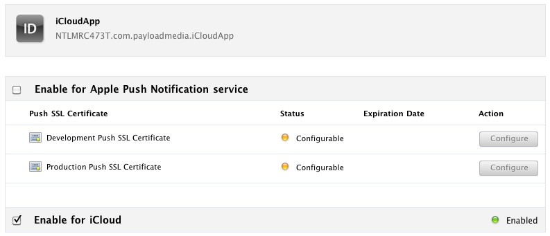 Enabling iCloud support for an App ID in the iOS developer portal