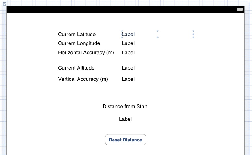 The user interface for an iPad iOS 5 location tracking application