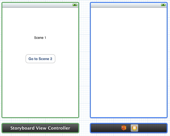 An Xcode storyboard with two scenes configured