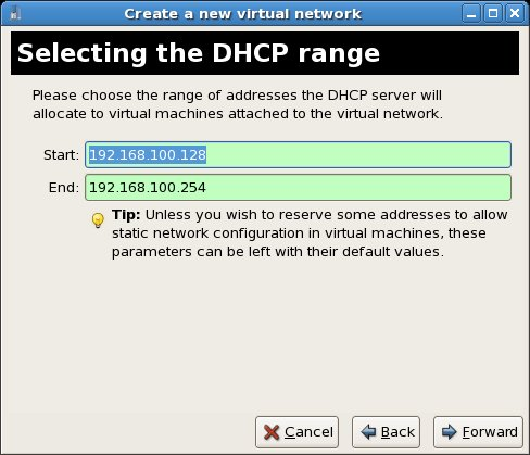 Defining the virtual network DHCP server address range