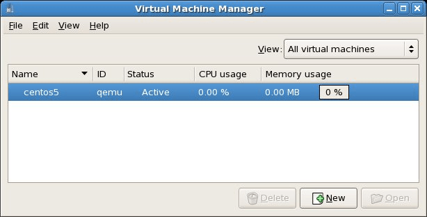 The virt-manager on a KVM enabled CentOS system