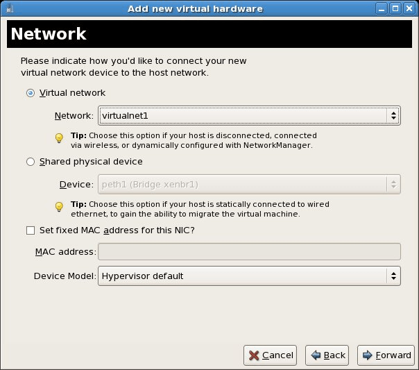 Assigning a new virtual network to a new CentOS Xen VM