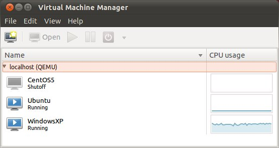 The virtual machine manager listing VMs on Ubuntu