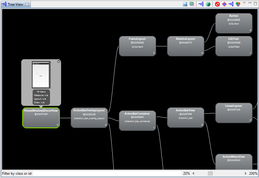 The Android Studio Hierarchy Viewer Tree View panel