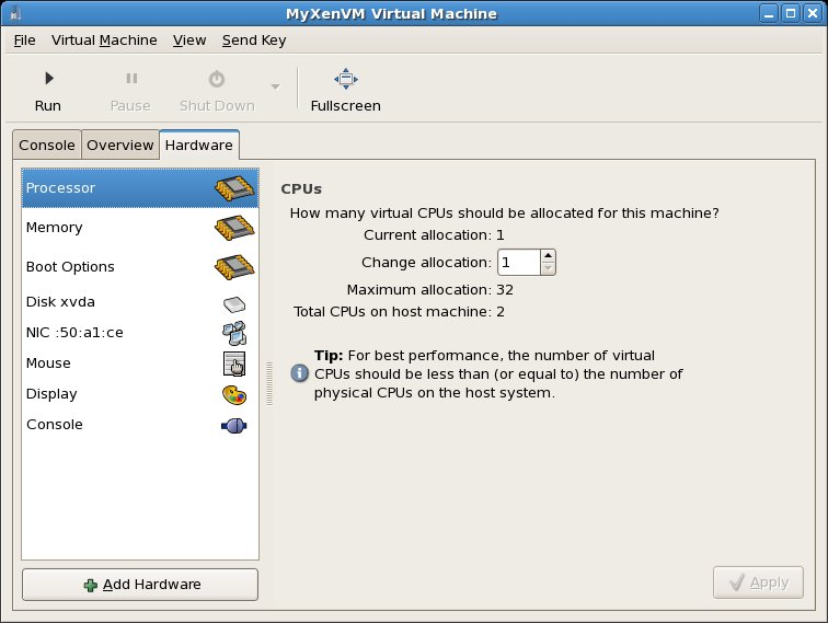 CPU configuration settings for a Xen VM on RHEL 5